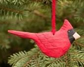 Hand Carved Wood Cardinal One Sided Christmas Ornament, Folk Art, Bird Art, Handmade in Ohio