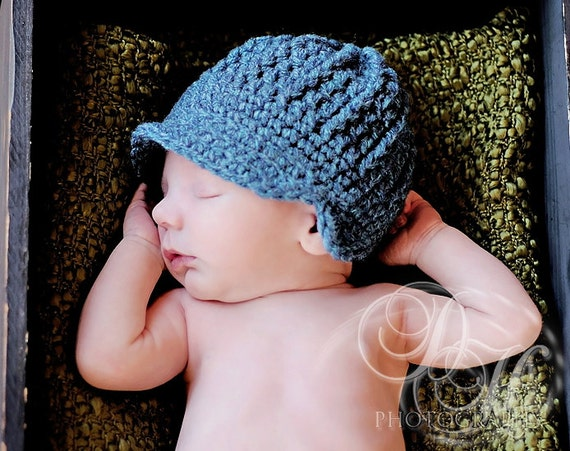 Baby Boy Crochet Hat, Baby Newsboy Cap, Newborn Visor Cap, Newborn Winter Hat