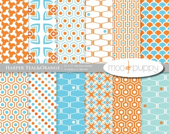 Digital Scrapbooking Paper:    Harper Teal&Orange  -- INSTANT DOWNLOAD