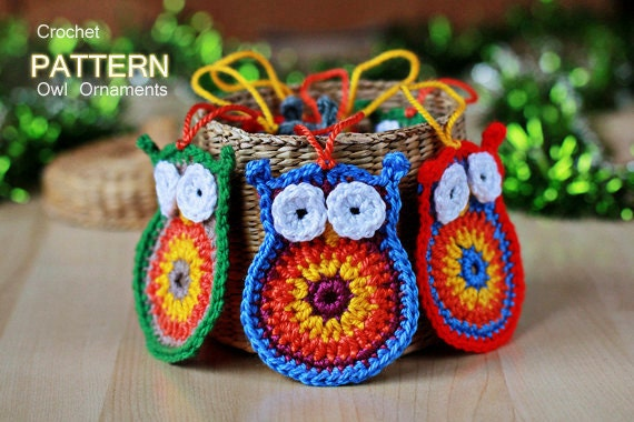 Crochet Pattern - Crochet Owl Ornaments (Pattern No. 012) - INSTANT DIGITAL DOWNLOAD