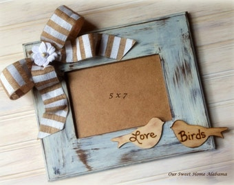8 x 10 Love Birds Wedding Frame Shabby Chic Decor Rustic Distressed Wood and Burlap Photo
