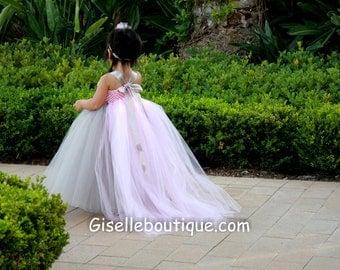 Flower girl dress Gray and Light Pink TuTu Dress.baby tutu dress, toddler tutu dress,wedding,birthday,clothing, girls dress. gray tutu dress