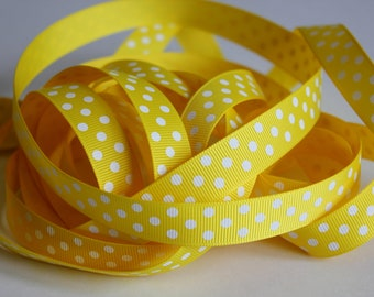 "3/8"" Grosgrain Ribbon Swiss Dots - Daffodil Yellow - 25 yd Spool"
