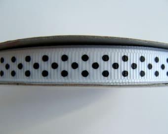 "3/8"" Grosgrain Ribbon Swiss Dots - 25 yd Spool - White with Black Dots"