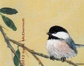 Chickadee Detail Print from Set 4, Bird 2 - 5 X 7 Inch Brushstroke Enhanced
