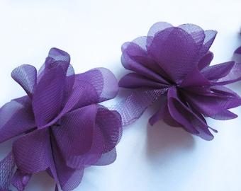 """1 yard 2.5"""" Chiffon Flowers Lace Trim-Purple CH014"""