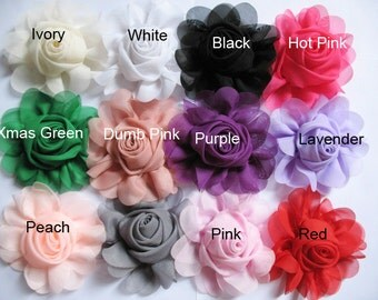 12 pcs Chiffon Rose Flower Headband-12 colors CH001-1