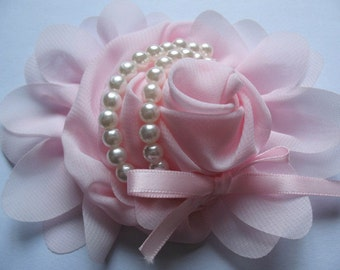 2pcs Chiffon Rose Flower Pearls Bow Headband-Pink  CH001-1