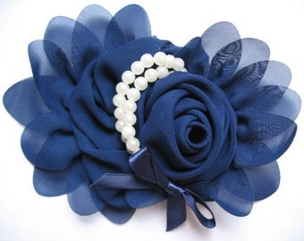 2pcs Chiffon Rose Flower Pearls Bow Headband-Navy CH001-1