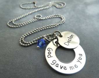 Personalized God gave me you hand stamped stainless stee mothersl necklace