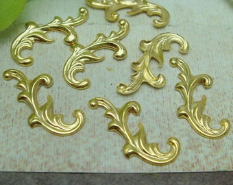 24pcs Golden Plated Filigree Charms,8x17mm,NICKEL FREE