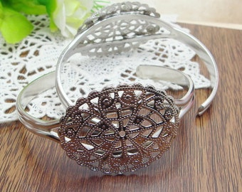 4pcs  Silver Plated  Cuff-Bracelet (33x41mm Filigreen),Nickel Free