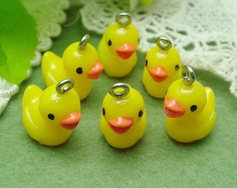6 Pcs Lovely Yellow Duck Baby Cabochon  Pendant.15x20mm- Hand Paint