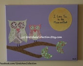 """Owl Paper Painting, Purple Pink 11x14 Art """"I Love You To The Moon And Back"""""""