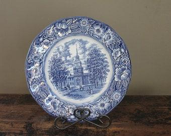 Vintage Blue Staffordshire Ironstone Plate