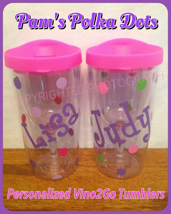 2 Personalized Vino 2 Go Wine To Go Acrylic Wine Sippy Cups