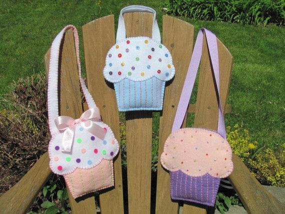 Little Girls Cupcake Purse Pattern Felt Purse Pattern Cupcake Gift Bag ...