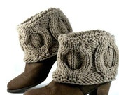 Hand Knit Winter Natural Linen Color Boot Covers, Short Woodland Vizon Boot Toppers