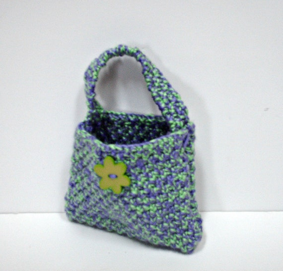 Clearance 40percent off & FREE SHIPPING--Double Knit Purse in Grape and Lime for Little Girl