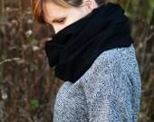 Black tube scarf - 100 % wool.