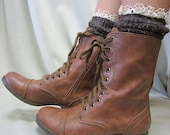 Miss Tori lace boot socks Chocolate tweed knit  -The socks your combat boots cowboy boots can't live without, lace slouch socks made in usa