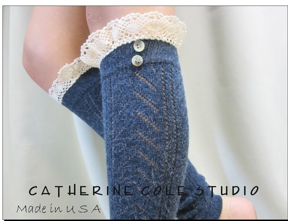 SALE Blue  knit lace leg warmers w cluny lace 2 tortoise buttons womens chevron  knit pattern  great with all boots by Catherine Cole Studio