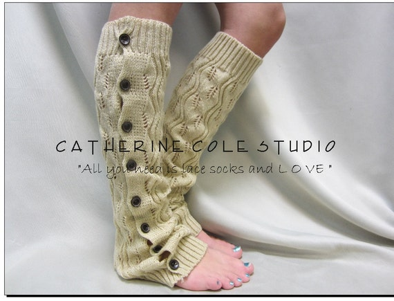 WHEAT leaf crochet knit patterned button down LEG WARMERS great with or without boots by Catherine Cole Studio lace legwarmers leg warmers