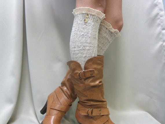 New  Natural speckled tall lace boot socks MADE IN USA  by Catherine Cole Studio legwarmers ultimate socks for tall boots