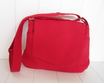 Red canvas shoulder bag/ipad bag/messenger bag/made in U.S.A - ready to ship