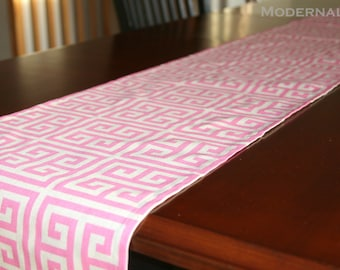 CLEARANCE Greek Key Table Runner- Premier Prints Rosa Pink Towers- 13x108 inches- Buffet or Dresser Runner- Beige Dining Decor- LAST 1