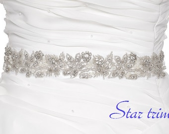 SALE GABBY Wedding Belt, Bridal Belt, Sash Belt, Crystal Rhinestones & Pearls