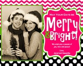 Christmas Cards Photo Card Dots and Hot Pink Chevron Customizable Printable 4x6 or 5x7