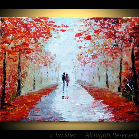 Couple LOVE Romantic Painting Red ORIGINAL Large Modern House Fine art --impasto TEXTURE -- Palette knife Landscape oil Landscape by IraSher