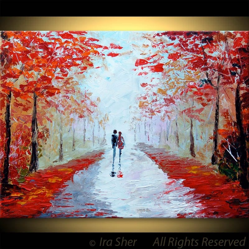 Couple LOVE Romantic Painting Red ORIGINAL Large Modern House