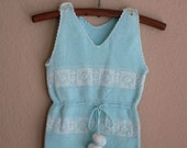 vintage knit jumpsuit footed baby romper 3 months - OliversForest