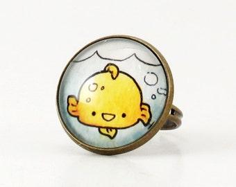 Gold Fish Ring, Bronze Adjustable Ring, Kawaii Animal Art Jewelry
