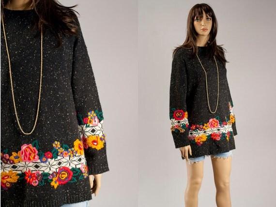 Vintage oversized sweater 80s hipster glam boyfriend fit floral sweatshirt
