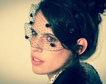 Black Birdcage Veil Headband with Sequin Flowers - Hair Accessory