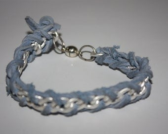 Chained Up - Blue suede chain bracelet