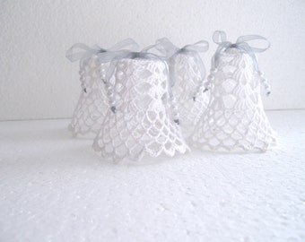 White crochet Christmas ornaments Set of  4 Lacy Bells