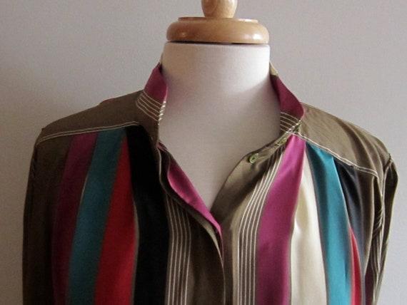 Vintage 1980s Striped Blouse / Silky Striped Button Down