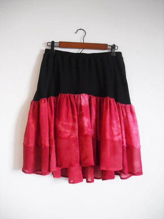Rose Madder Silk Ruffle Skirt, size XL