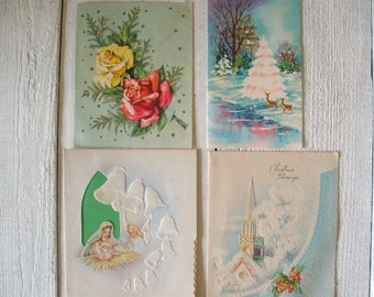 Four vintage Christmas cards sweet retro 1940s 1950s