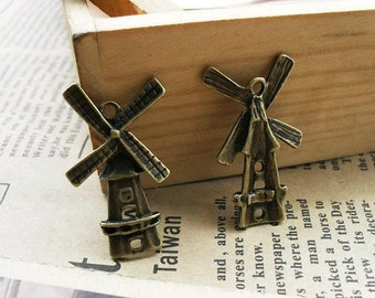 20pcs 16x28mm The Windmill  Antique Bronze Retro Pendant Charm For Jewelry Necklace Charms Pendants C459