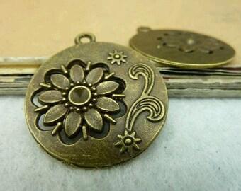10pcs 27x30mm The Round flowers Antique Bronze Retro Pendant Charm For Jewelry Bracelet Necklace Charms Pendants C3235