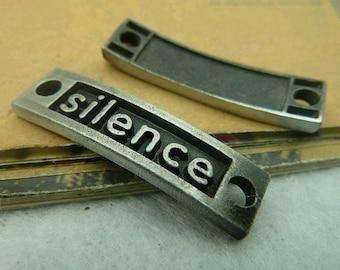 10pcs 10x36mm The Silence  Light Black Retro Pendant Charm For Jewelry Bracelet Necklace Charms Pendants C3828