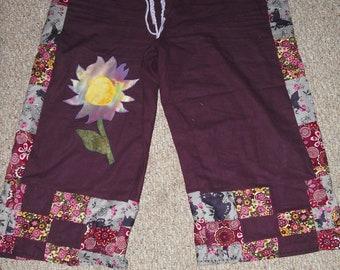 patchwork hippie capri shorts with flower applique