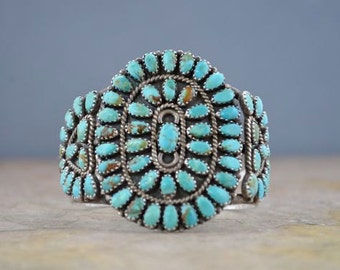 Stunning Vintage Navajo Cuff - Sterling and Turquoise, Signed