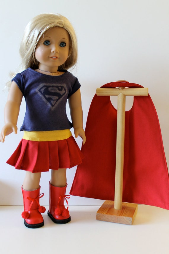4 Piece Supergirl Costume with Cape and Boots for American Girl or Other 18 Inch Dolls