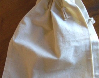 """2 Large Thick Pure Cotton Muslin Bags, 8""""x10"""" - Unbleached, perfect for straining tomatoes, mulling spices and more"""